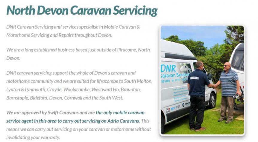 caravan website design combe martin