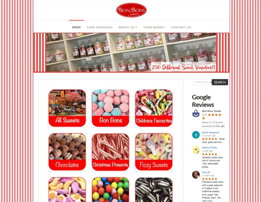 online sweet shop ecommerce website designer north devon
